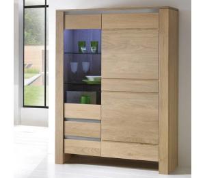 Y bibliothèque 2 portes dont 1 vitrée 2 tiroirs L120  H162  P42cm