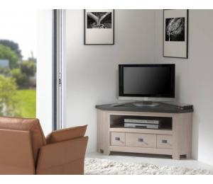 W Meuble TV d'angle 1 tiroir 1 niche L124 H60 P66cm