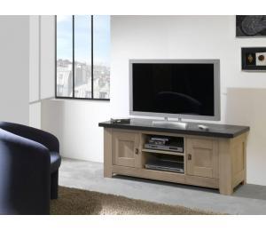 W Meuble TV 2 portes 1 niche L148 H59 P54 cm