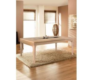Table VINTAGE avec différents plateaux. Réalisable en 160/180/200 X100cm avec  2 allonges de 60cm. ou 130x130cm + 2 allonges de 55cm.