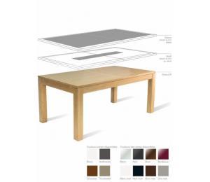 Table YUZU avec différents plateaux. Réalisable en 160/180/200 x100cm avec 2 allonges rangées de 50cm.