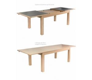 Table YUZU avec différents plateaux. 160/180/200 x 100cm 2 allonges de 50cm rangées sous le plateau