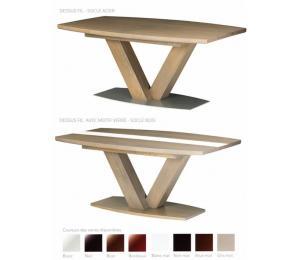 Table OXALIDE Possibilité de différents plateaux. Réalisable en 160/180/200 x 110cm  socle bois ou acier avec 2 allonges de 50cm rangées dans la table. (possibilité d'une troisième allonge rangée à l'extérieur de la table)