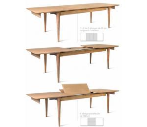 Table SIXTIES rectangulaire avec différents plateaux. Réalisable en 160/180//200/220 x 100cm. Avec 2 allonges de 45cm ou 1 allonge portefeuille de 100cm