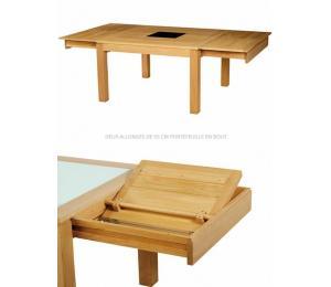 Table CURCUMA carrée avec allonges.
