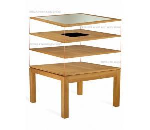 Table CURCUMA carrée 130 x 130 cm avec 2 allonges portefeuille de 55cm en bout.