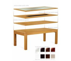 Table  CURCUMA rectangulaire avec différents plateaux. Réalisable en 140 x 100 avec 2 allonges de 50cm ou en 160/180/200/220 x 100 cm avec 2 allonges de 60cm.