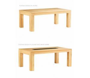 Table BAOBAB rectangulaire avec différents plateaux. Réalisable en 160/180/200/220/250/300 x 110 cm avec 2 allonges portefeuille en bout de 50cm pour table en 160cm ou 2 allonges portefeuille en bout de 60cm pour tables en 180/200/220//250/300cm.