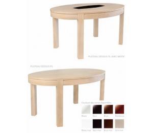 Table TAPANA ovale avec différents plateaux. Réalisable en 140 x 97/160 x 107/180 x 110cm avec possibilité d'1 allonge portefeuille , ou d'allonges rangées dans la table ou hors de la table en fonction du modèle.