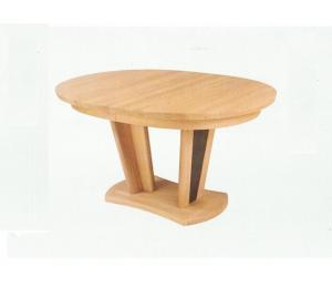 Table ovale. 2 Pieds décor gris. Se réalise en 156 X 100cm ou 180/200 X 115 cm. De 0 à 3 allonges de 40cm rangées sous le plateau.
