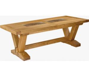 Table VERONE 220 X 100 cm. 4 allonges de rangées sous le plateau.