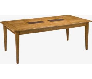 Table DEAUVILLE. 180 X100 ou 220 X 100 cm. 4 allonges rangées sous le plateau. Possibilité de plateaux différents.
