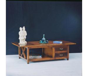 O Table de salon 630 ouverte Dessus coulissant avec un volet 2 tiroirs L110 P70 H43cm (avec volet 145cm)