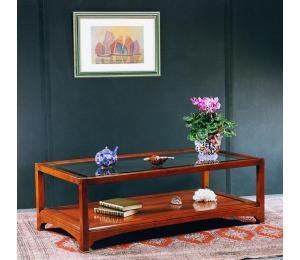 O Table de salon 837 dessus verre biseauté L120 P60 H40cm (existe en bout de canapé: 50x50 H50cm)