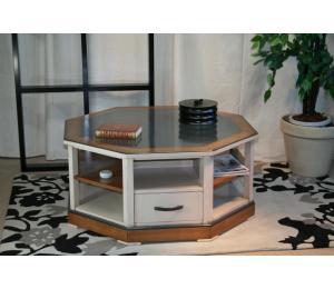 O Table de salon 231 octogonale, 2 tiroirs, dessus laqué. L92 P92 H43.5cm