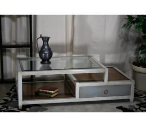 O Table de salon 460 dessus verre, 1 tiroir. L130 P70 H42cm