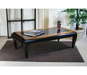 O Table de salon 952 Dessus verre laqué, encadrement dessus merisier. L126 P68 H41cm