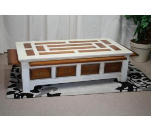 O Table de salon 741 Blanche (laque au choix) 2tiroirs, 3 tirettes. L136 P71 H40cm