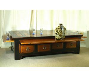 O Table de salon 741 Noire (laque au choix)2tiroirs, 3 tirettes. L136 P71 H40cm