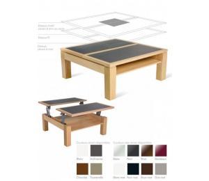 M table de salon D  90x90 cm. Dessus bois, dessus bois avec motif verre ou céramique  ou dessus céramique alaisé.
