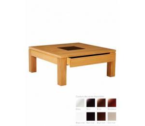 M table de salon C 90x90 cm. Dessus bois, dessus bois avec motif céramique, dessus céramique alaisé chêne ou plateau full céramique. 1 tiroir.