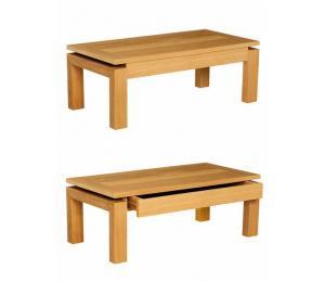 M table de salon T 110x55, 130x65cm ou 90x90cm. Dessus bois, dessus bois avec motif verre ou céramique  ou dessus céramique alaisé.  1 tiroir.