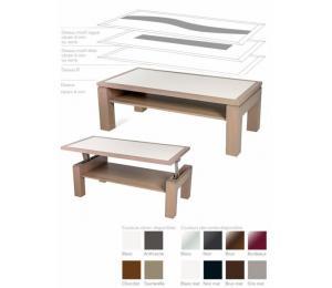 M table de salon D 110x55cm. Dessus bois, dessus avec motif verre ou céramique ou dessus céramique alaisé.