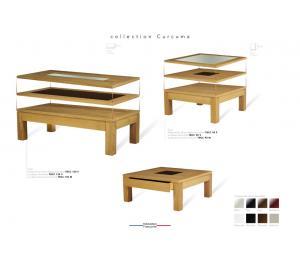M table de salon C 130x65cm.  Dessus bois, dessus avec motif verre ou céramique ou dessus céramique alaisé.