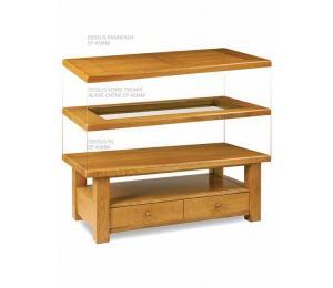 Table de salon 130 x 65 ou carrée 100 x 100cm, pieds droits, double plateau dessus de fil, dessus panneaux ou dessus verre trempé alaisé. tiroir va-et-vient.