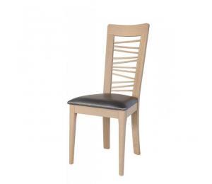 Chaise 1664. Hauteur 103 cm. Assise garnie.  Pieds arrondis. (Possibilité assise bois)