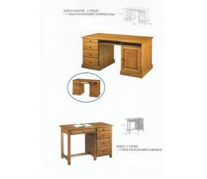 M Bureau ministre  L140 P69 H78cm 2 tiroirs + 1 tiroir pour dossiers suspendus (en bas) et bureau L118 P58 H78 cm. 3 tiroirs + 1 tiroir pour dossiers suspendus.