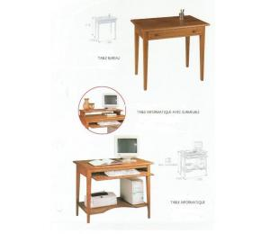 M Table bureau L80 P50 H75 cm ou Table informatique L100 P60 H78cm avec sur meuble H90cm. Tirettes sur extrémités.