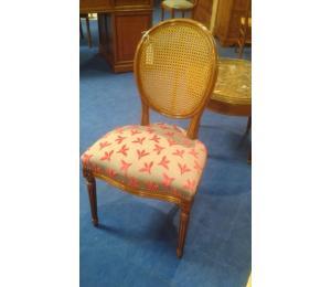 141 Chaise médaillon Louis XVI assise garnie et dos canné (possibilité assise et dos cannés)