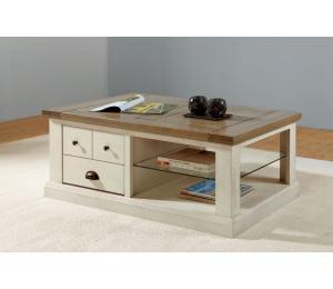 R Table de salon 1 tiroir va et vient L120 H45 P67cm
