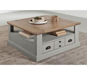 R Table de salon 2 tiroirs L90 H45 P90cm