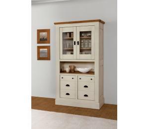 R Vitrine 2 portes vitrées 2 portes bois style tiroirs 1 niche L105 H188 P45 cm