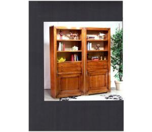 Bibliothèque 2x860  tablettes, bloc tiroirs et portes L190 P40 H210cm