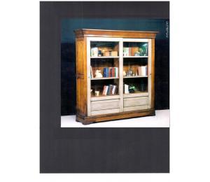 Bibliothèque 640 teinte merisier+laque 2 portes coulissantes, 6 tablettes L195 P48 H195cm