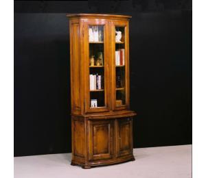 Bibliothèque galbée 626 / 2 portes hautes vitrées avec 3 tablettes, 1 tirette, 1 tablette basse L95 P42 H215cm