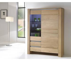 Bibliothèque Y /  1 porte vitrée, 1 porte pleine, 2 tiroirs L120 H162 P42cm