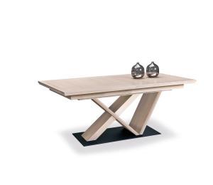 B Table pied central dessus plaqué chêne 1mm 180x100cm possibilité 3 allonges plaquées de 40cm rangées sous le plateau socle métal