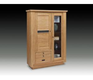 B Vitrine 1 porte vitrée 1 bois 2 tiroirs L117 H171 P45cm
