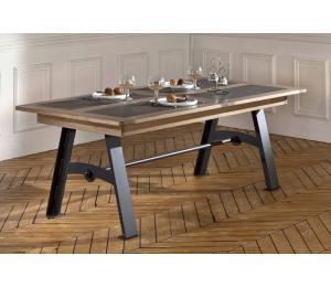 D Table pieds métal L170x100cm avec 1 allonge portefeuille de 60cm ou L200x100cm avec 1 allonge portefeuille de 93cm