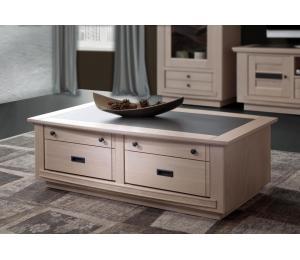 B Table basse 2 tiroirs va et vient L120 H40 P67cm Plateau bois incrustation céramique
