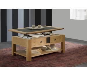 B Table basse dinette L105 H40 P63 cm plateau relevé. Plateau bois incrustation céramique.
