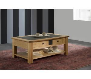 B Table basse dinette L 105 H40 P63cm Plateau relevant. Plateau bois incrustation céramique.