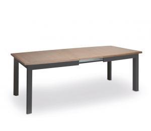 M Table 4 pieds 170x107cm + 2 allonges portefeuille de 46cm ou 200x107cm + 2 allonges portefeuille de 65cm. Dessus et allonges médium plaqué chêne1mm