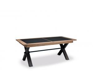 M Table pied X 170x107cm +1 allonge portefeuille de 60cm ou 200x107cm +2 allonges portefeuille de 46cm. Dessus et allonges céramique.