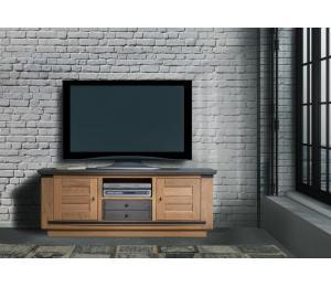 M Meuble TV 2 portes 1 tiroir 1 niche L160 H61 P45 cm