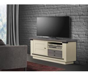 M Meuble TV 1 porte 1 tiroir 1 niche L124 H61 P45cm